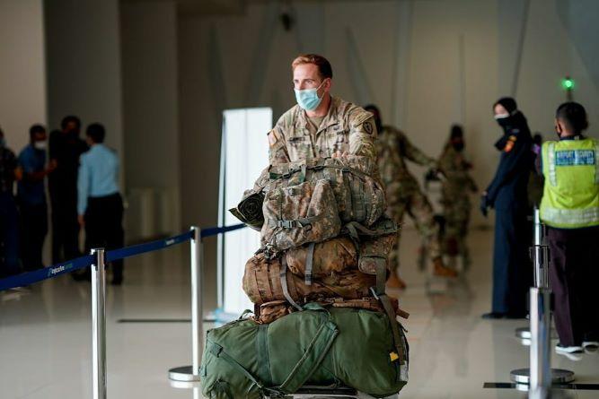 Tiba di Balikpapan, 108 Tentara Angkatan Darat Amerika Serikat Disambut Protokol Kesehatan Ketat