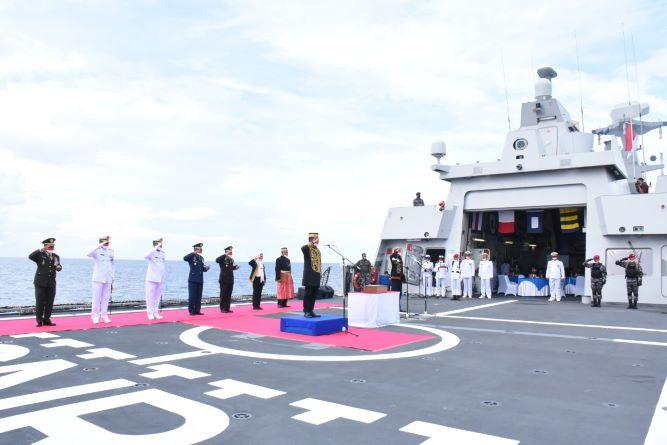 TNI AL Gelar Upacara HUT Ke-76 Kemerdekaan RI di Tapal Batas Perairan Ambalat